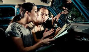 arguing couple driving